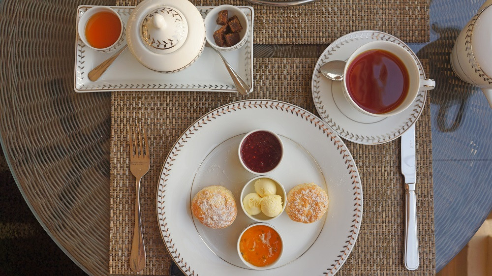 Fresh scones presented in a beautiful manner as part of the Afternoon Tea set at Galle Face Hotel
