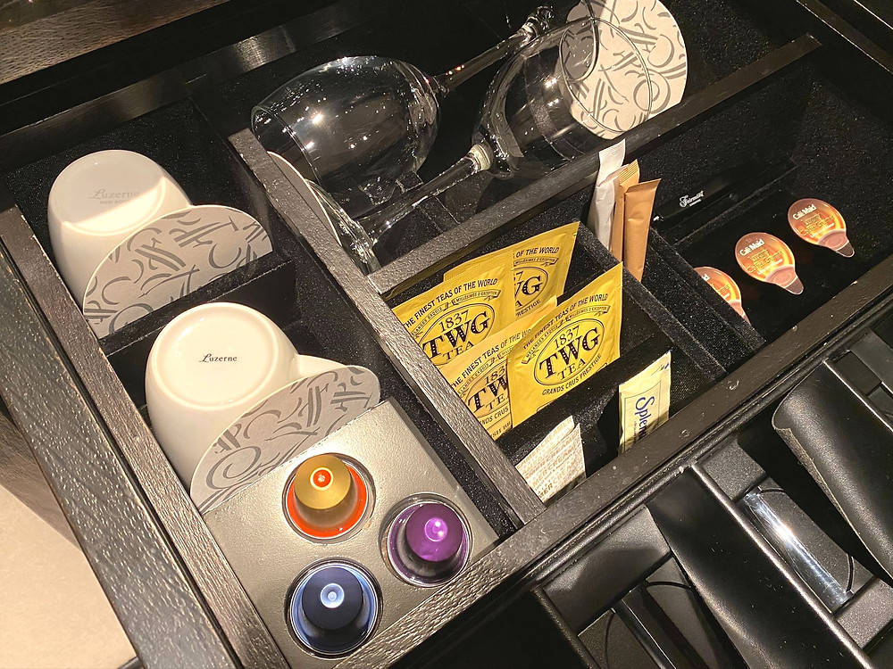 Fairmont Singapore Signature King Suite - TWG teabags and Nespresso capsules for your caffeine needs