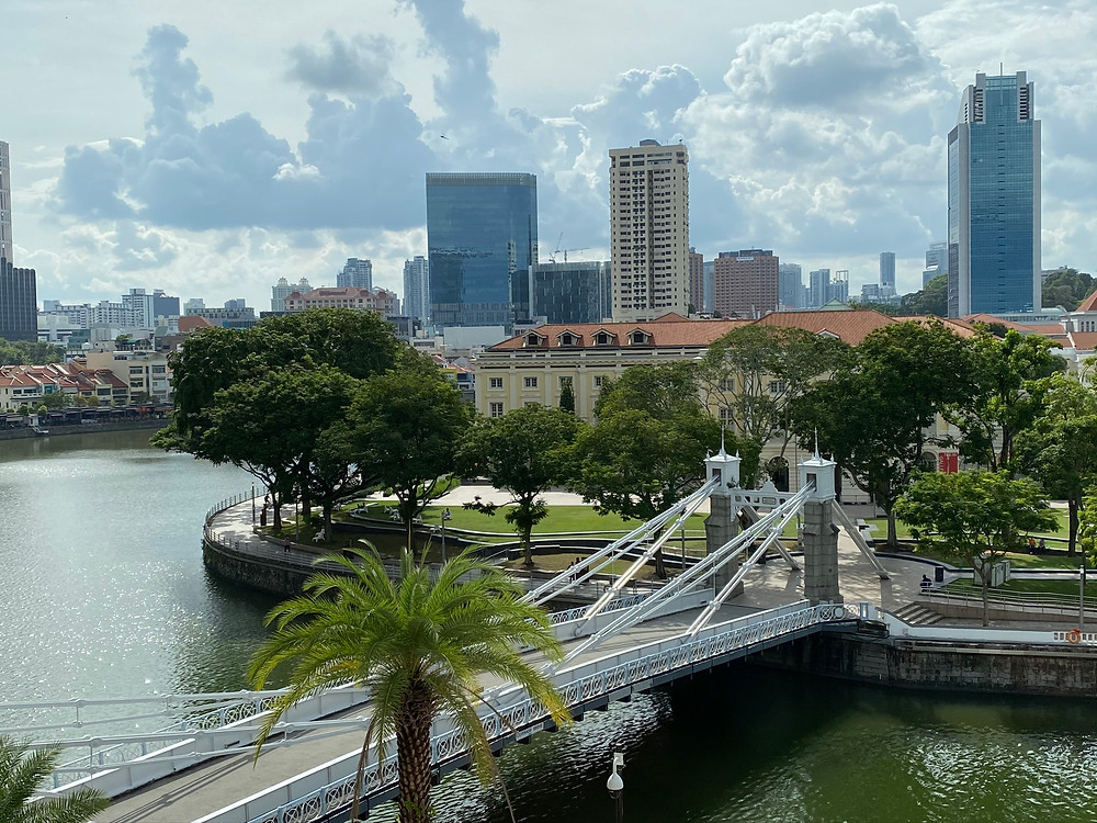 View of the historic Cavenagh Bridge and Asian Civilisations Museum from The Straits Club