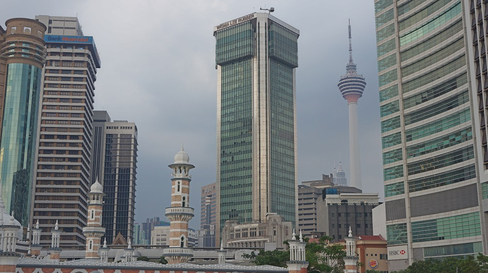 View of the city's skyscrapers from Merdeka Square