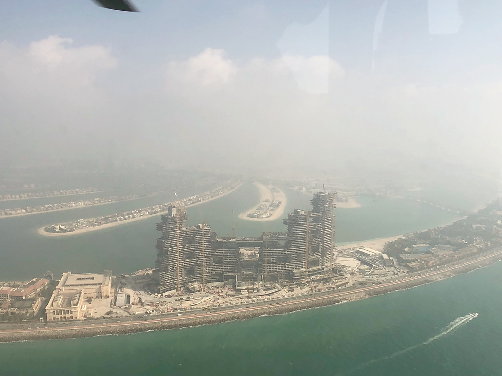Flying over The Royal Atlantis Resort & Residences that was still in construction then