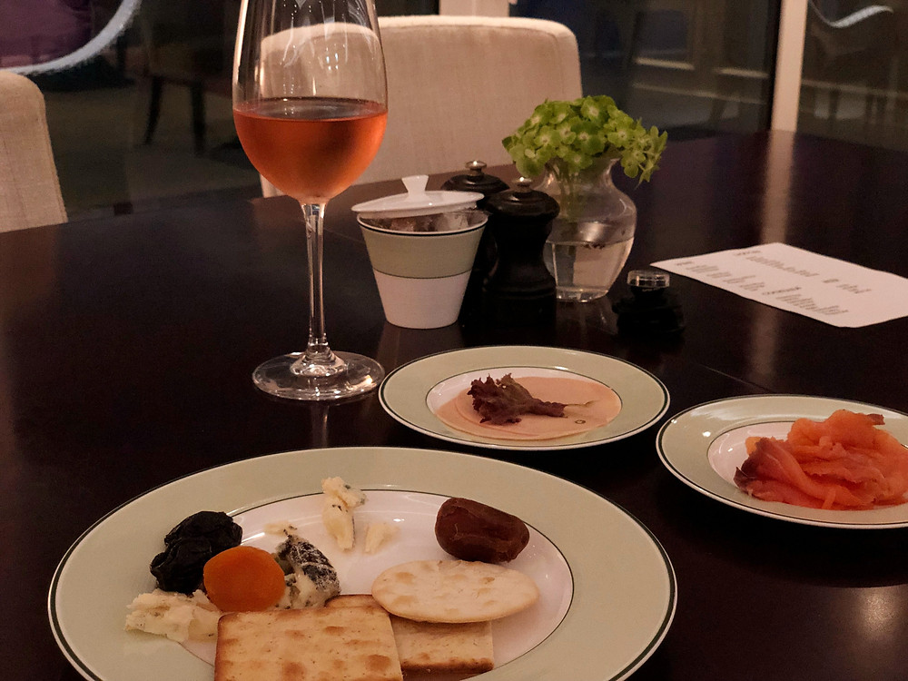 Pearl Club Lounge - Cheese and crackers, smoked salmon, cold cuts, and wine
