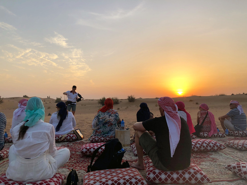 Listening intently about the falcon as the sun sets over the Middle Eastern desert