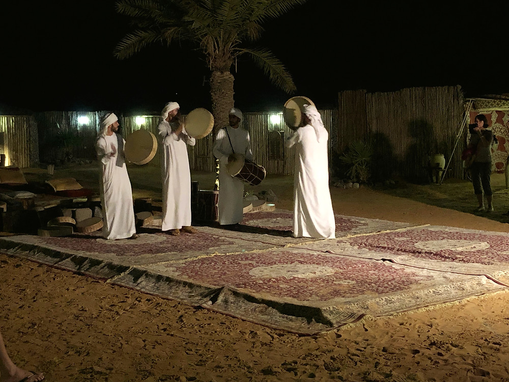 Watching a traditional dance performance after our dinner at the Bedouin camp