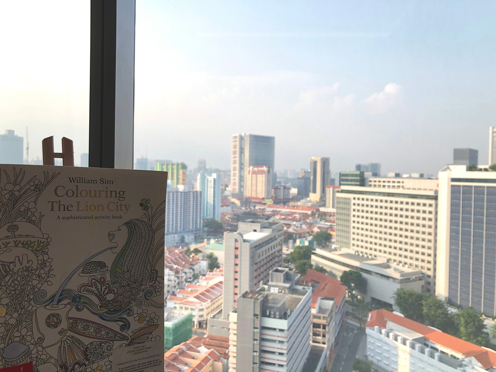 Prestige Suite - Doing some colouring of the city while looking at the city