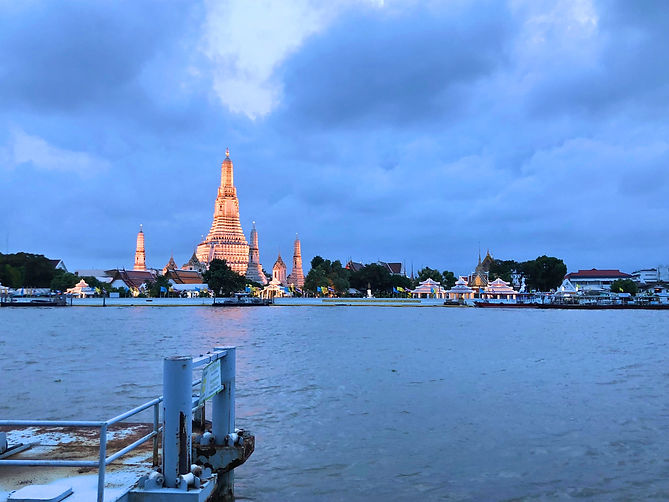 View of Wat Arun as the sun sets