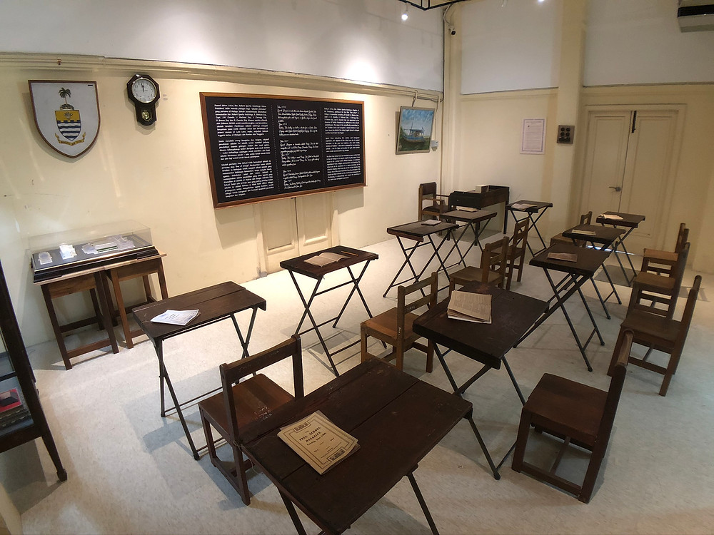 A replica classroom showcasing how lessons were conducted a hundred years ago