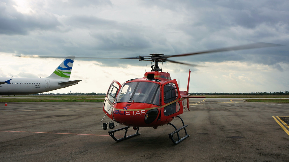 Our helicopter for the day parked at Siem Reap Airport