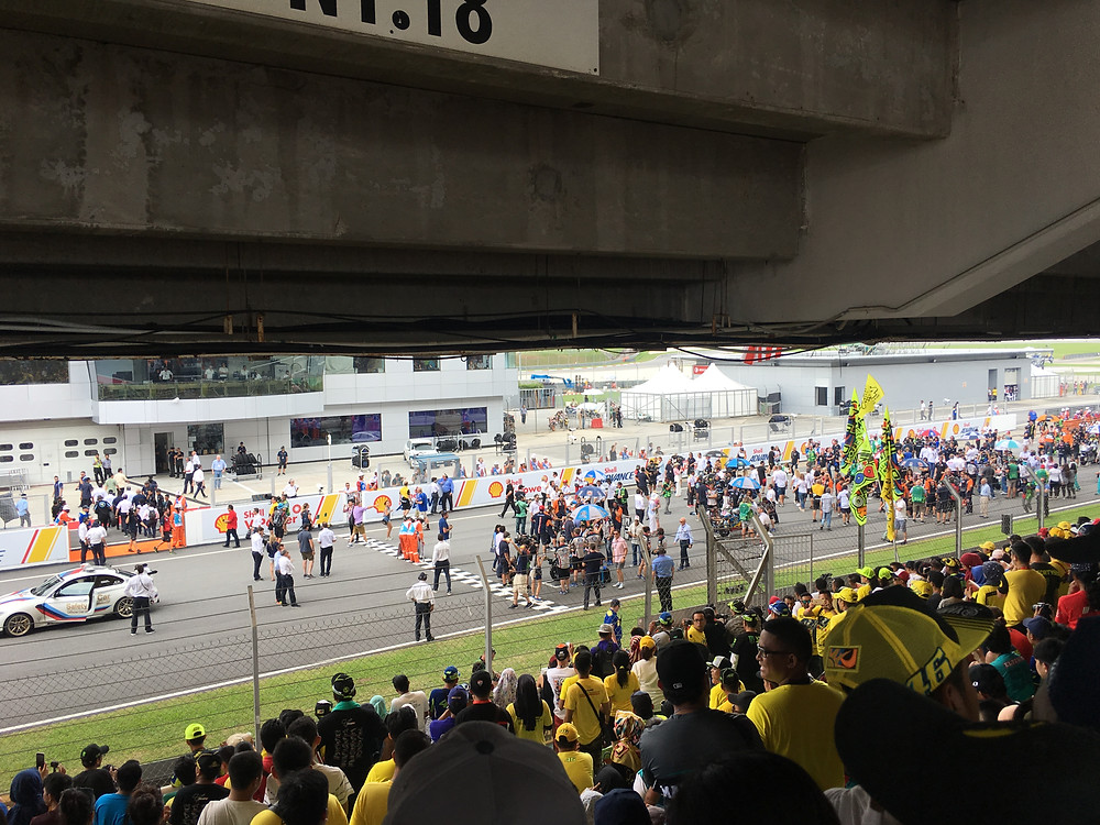 The crowd getting excited as the race is about to get started at Sepang Circuit