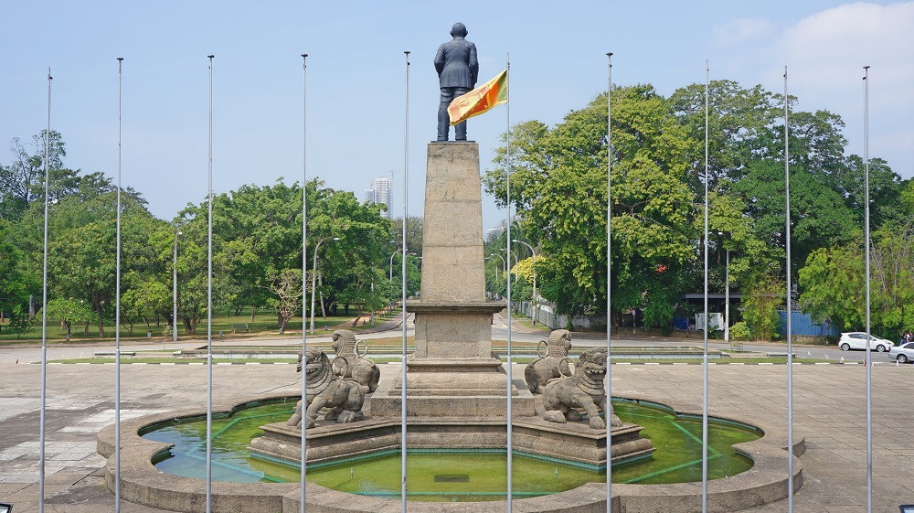 View of the statue of Don Stephen Senanayake from the Independence Memorial Hall