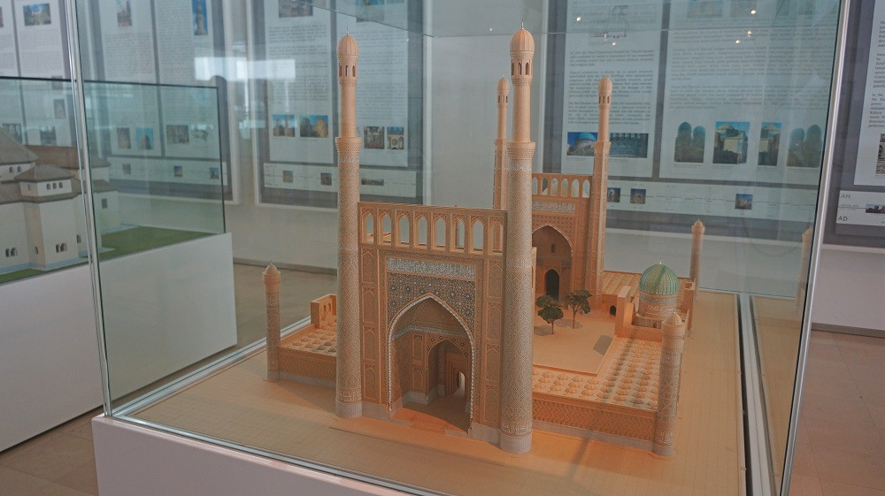 A model of a mosque on display at Islamic Arts Museum