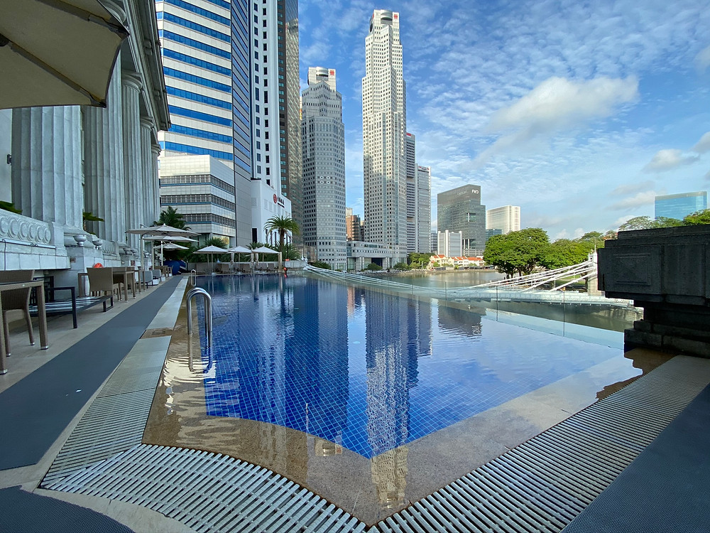 The Fullerton Hotel's swimming pool is truly amazing with fantastic views of the Central Business District