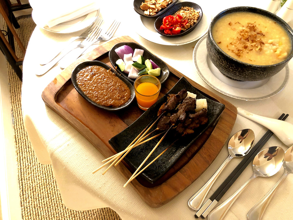 Regent Singapore Room Service - Local satays to begin the meal