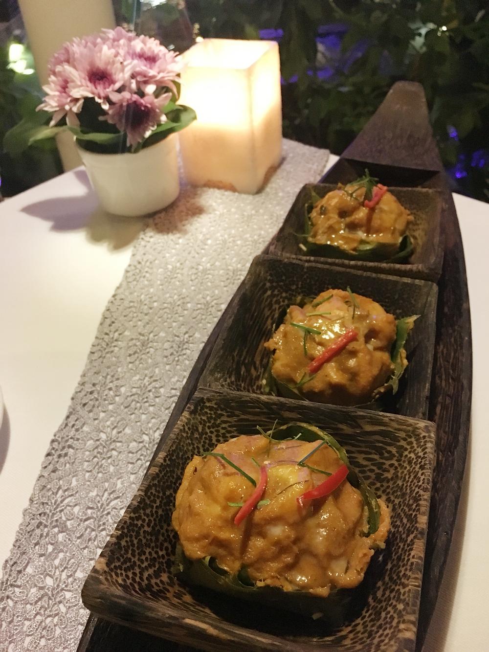 Fish amok for dinner at Malis Restaurant Phnom Penh