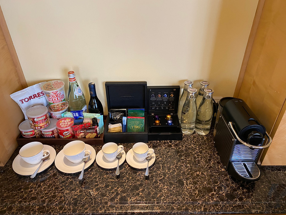 Lots of snacks and beverages for customers to consume while relaxing in the Loft Suite