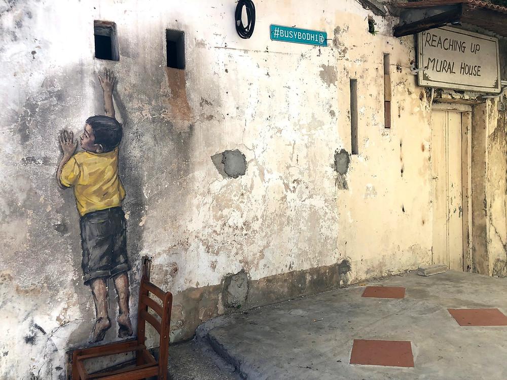 Penang Street Art - Boy on chair