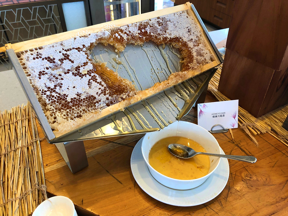 Honey and a honeycomb for guests to enjoy