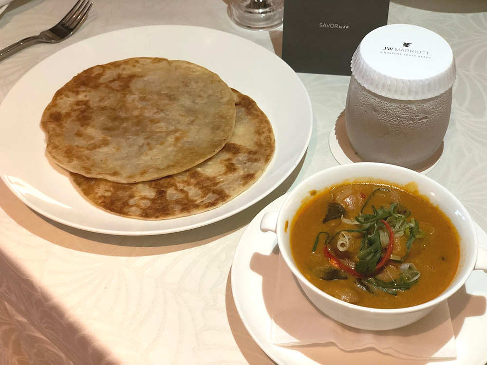 JW Marriott Hotel Singapore South Beach Room Service - Chicken Curry with Paratha