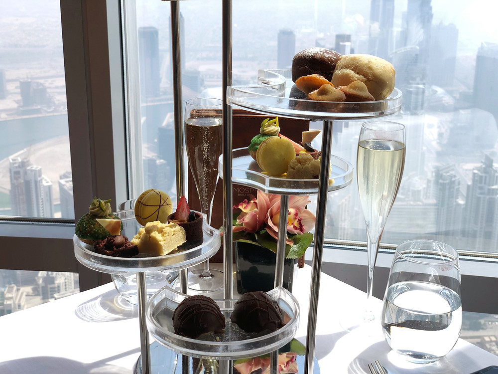 The traditional afternoon tea set in a tower setting