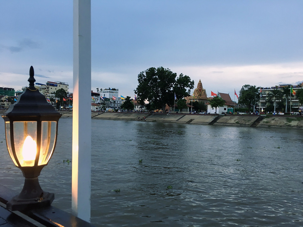 Looking back at the city from the boat on Tonle Sap