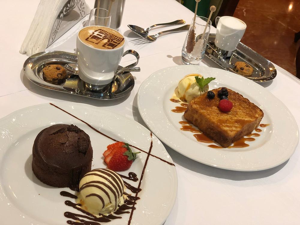 Some delicious desserts served at Entrecote Café de Paris