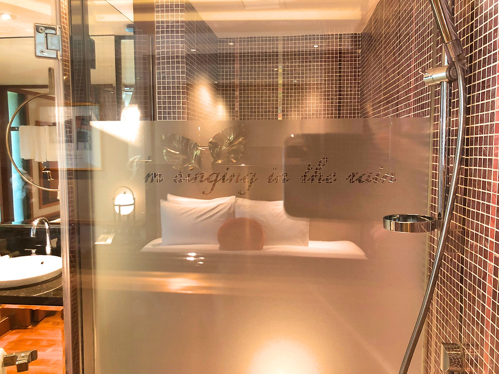 Prestige Suite - A nice touch that encourages guests to relax while showering. Singing in the rain...