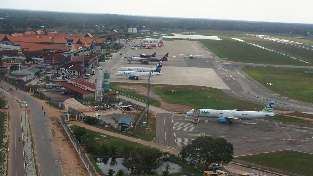 Reaching Siem Reap Airport via a helicopter