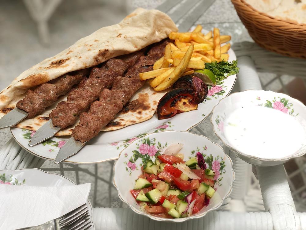 Lamb kebabs at Arabian Tea House Restaurant and Cafe