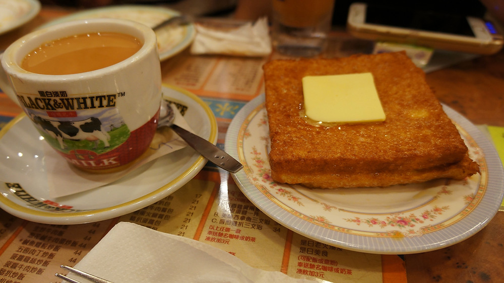 French toast with a delicious cup of milk tea at Kam Wah Café