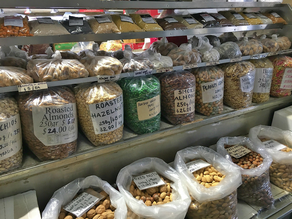 All types of nuts for sale at Queen Victoria Market