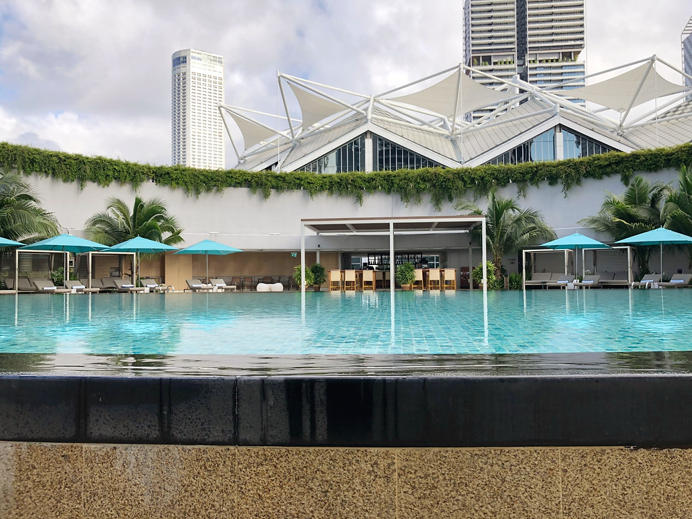 View from Pan Pacific Singapore's heating swimming pool