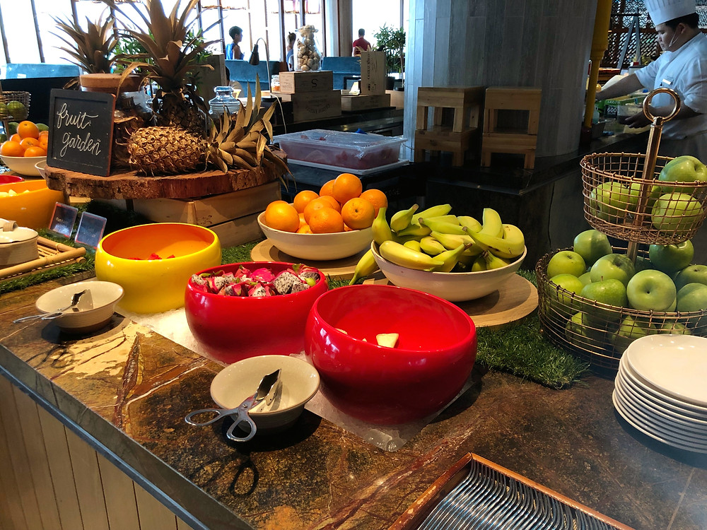 Fresh fruits available during breakfast service at Pan Pacific Singapore's Edge