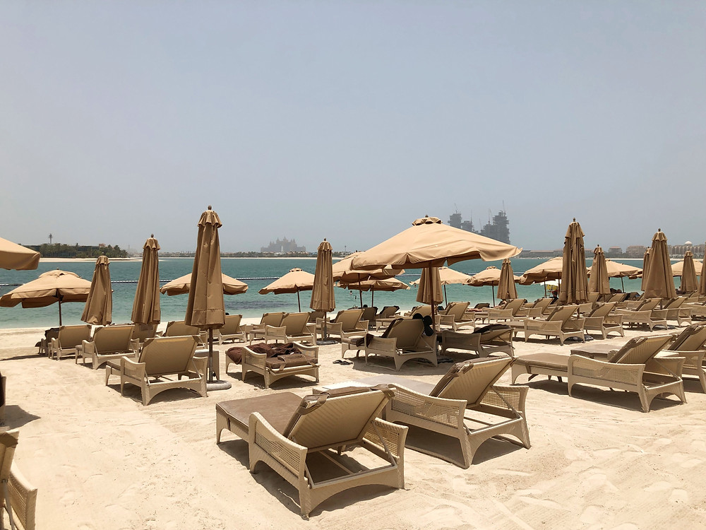 Plenty of lounge chairs are available at Waldorf Astoria Dubai Palm Jumeirah's own private beach