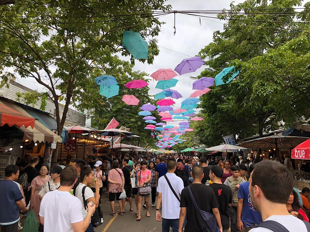 Décor above the crowd at Chatuchak Market