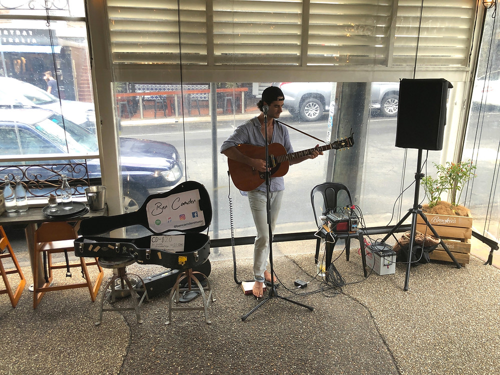 Ben Camden, a talented singer with some great tunes at Byron Fresh Café