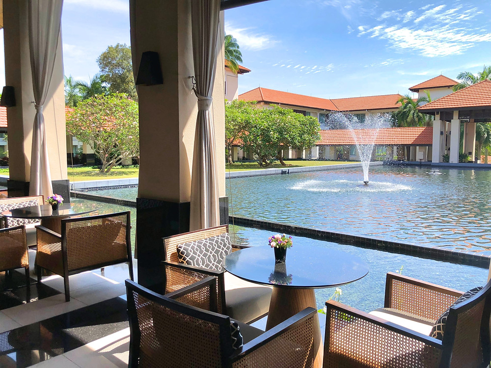 View of the water fountain from Sofitel Singapore Sentosa Resort & Spa's Le Bar.