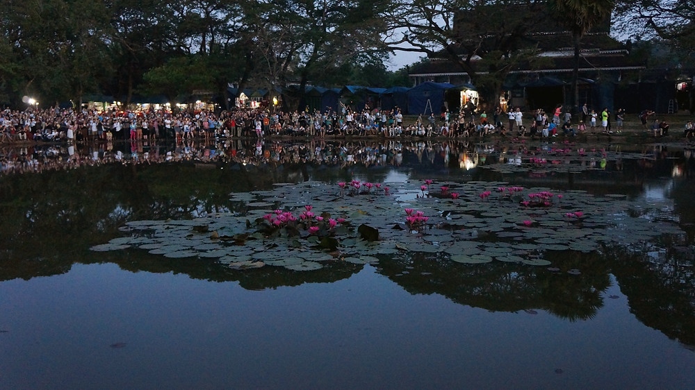 The crowd patiently waiting for the sunrise at Angkor Wat