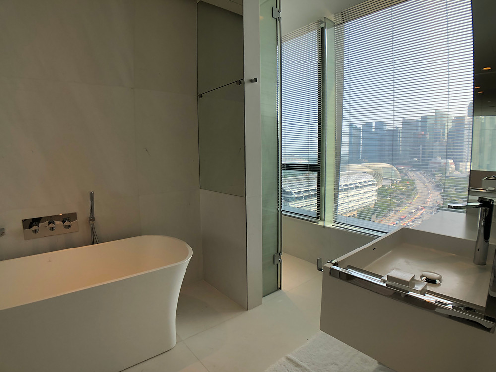 Premier Marina Bay View Suite - Marina Bay view from the bathroom