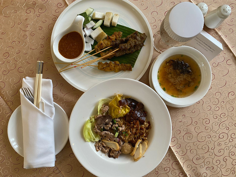 A simple local lunch for room service at The Fullerton Hotel