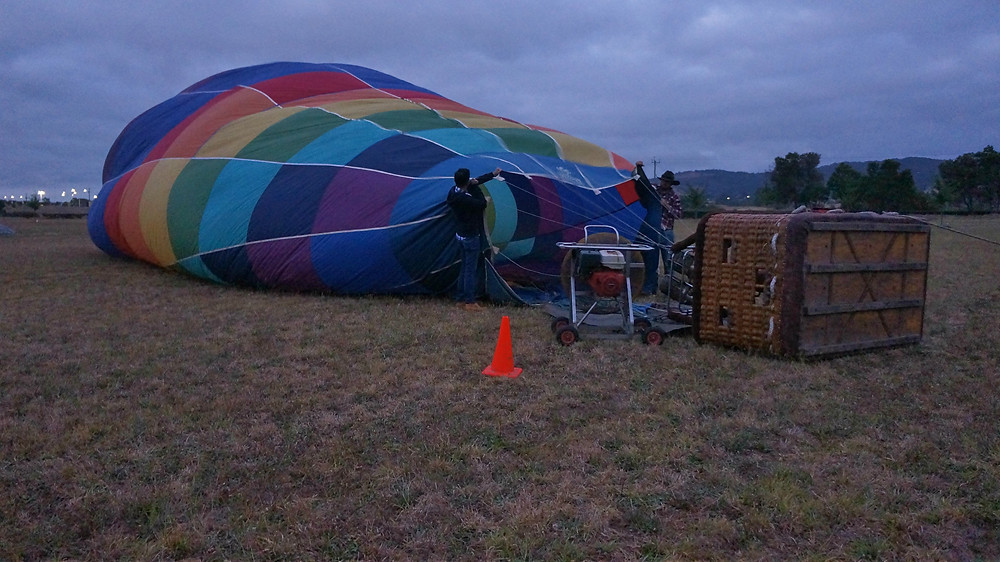 Helping to set up the hot air balloon before our flight