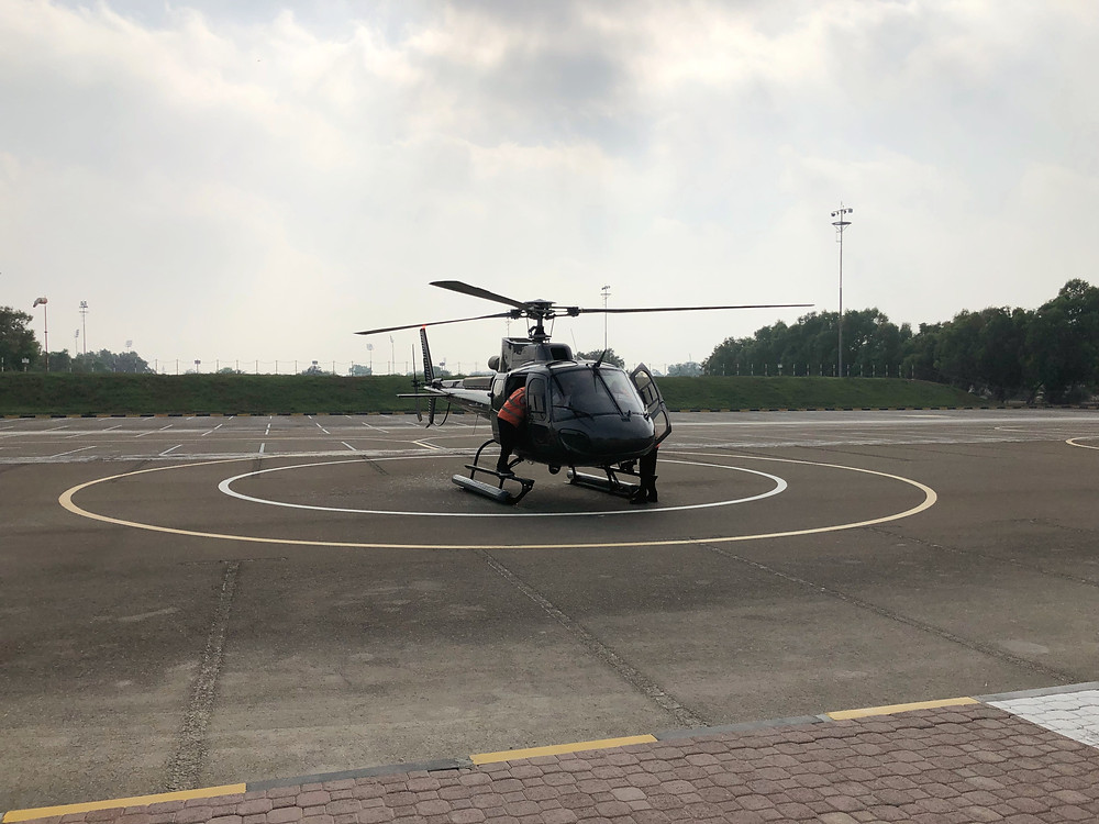 The Eurocopter AS350 B3 - our ride for the day courtesy of HeliDubai