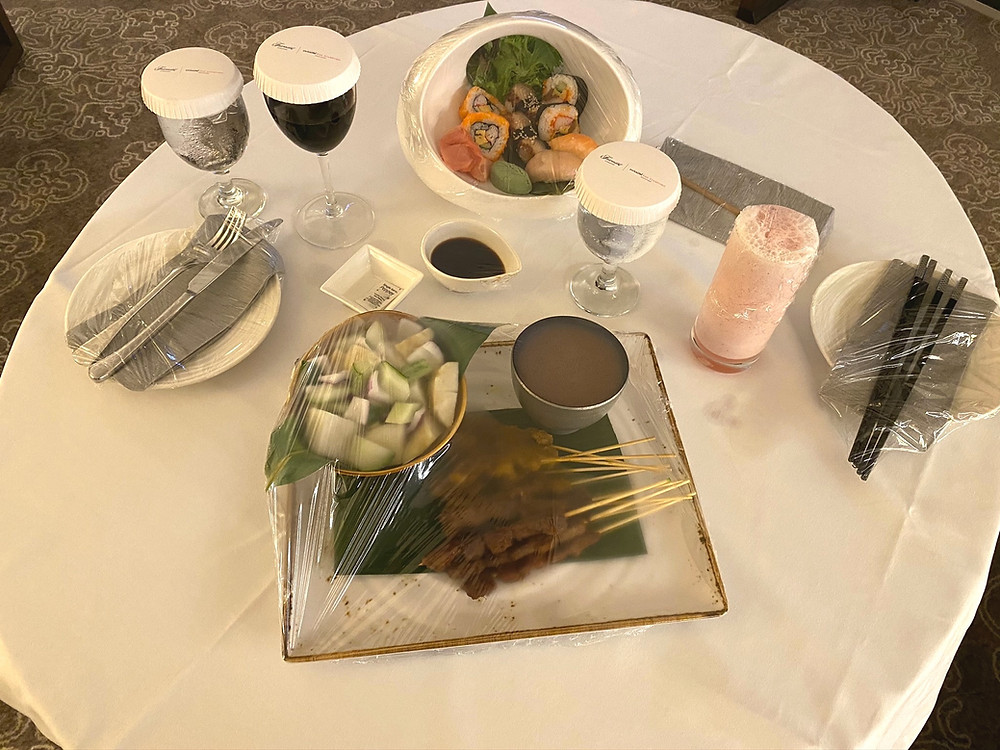 Fairmont Singapore Room Service - Supper came all wrapped up to protect guests