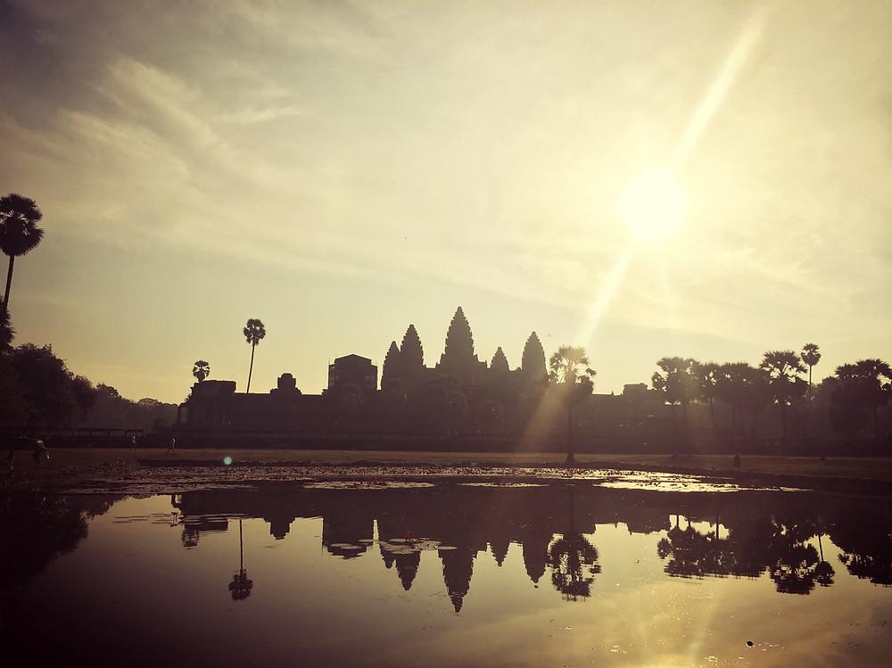 The amazing sunrise behind Angkor Wat