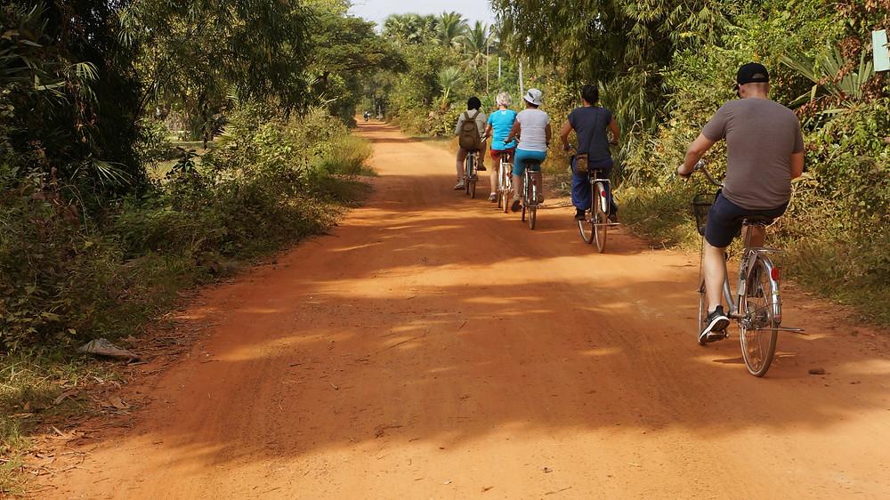 Enjoying a bicycle ride around suburban Siem Reap