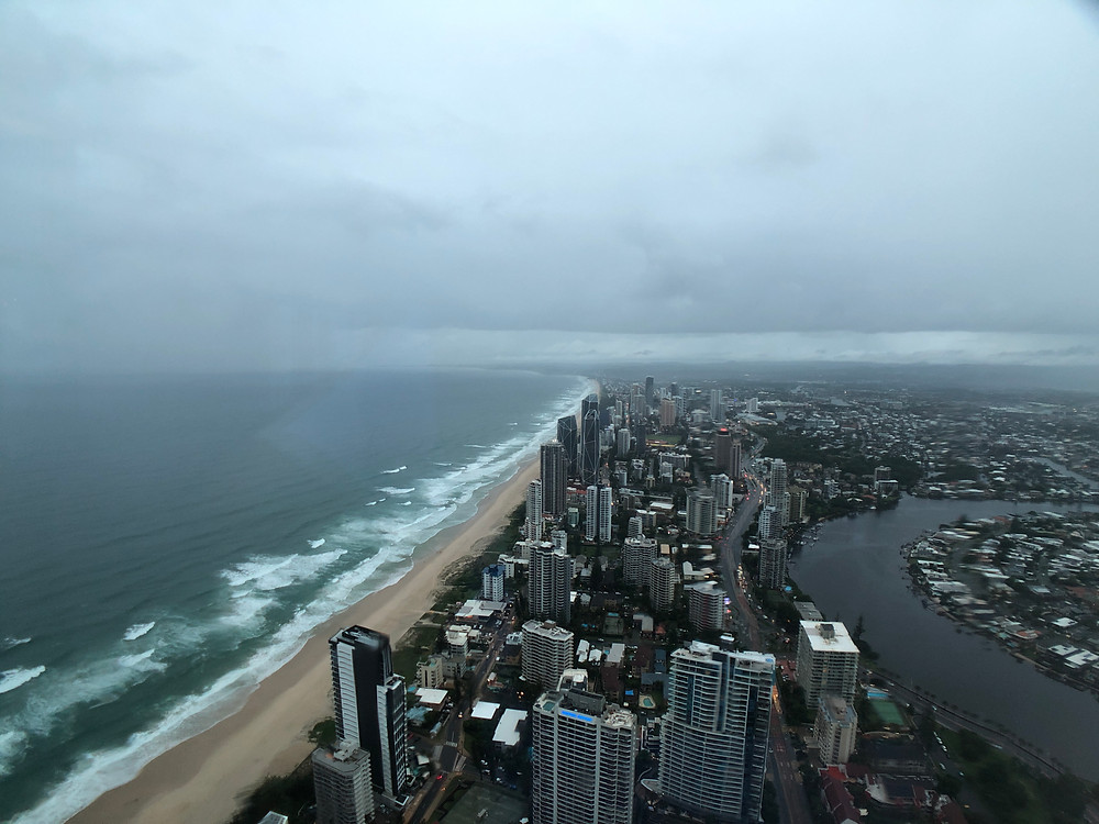 Looking at Gold Coast's vast coastline from SkyPoint Observation Deck