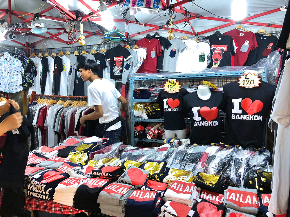 Clothes for sale at Rod Fai Night Market