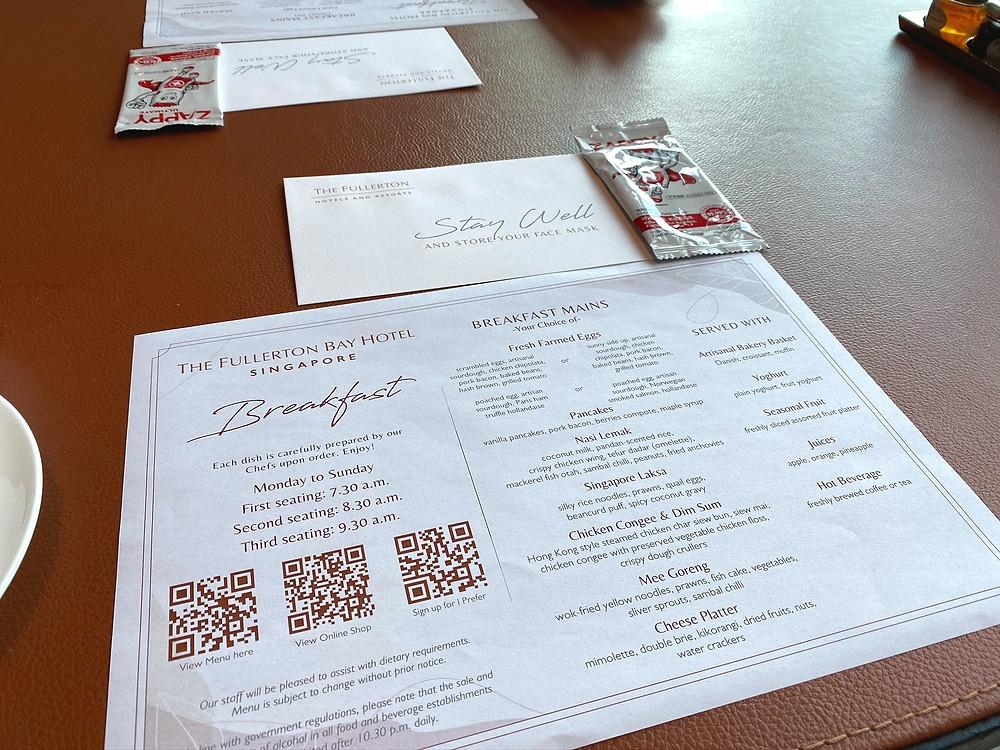 Fullerton Bay Hotel - Breakfast menu at Fullerton Bay Hotel