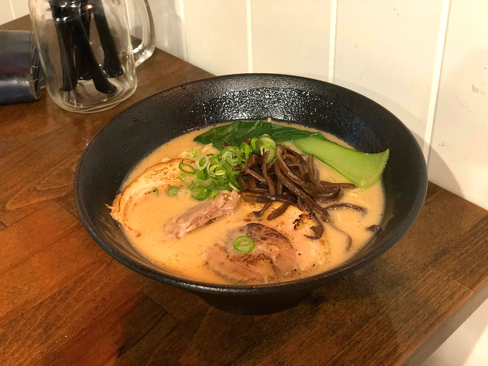 A comforting bowl of hot ramen at Beppin Ramen and Cake to end the day trip to Byron Bay and Gold Coast