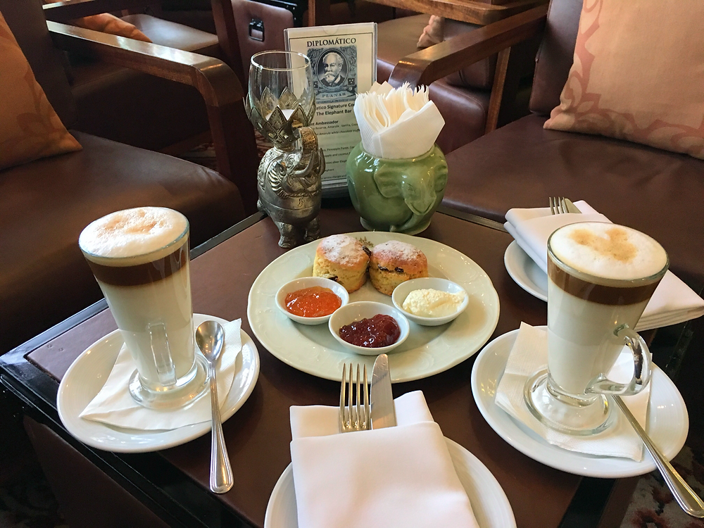 Scones and coffee for a nice tea break at Raffles Hotel Le Royal