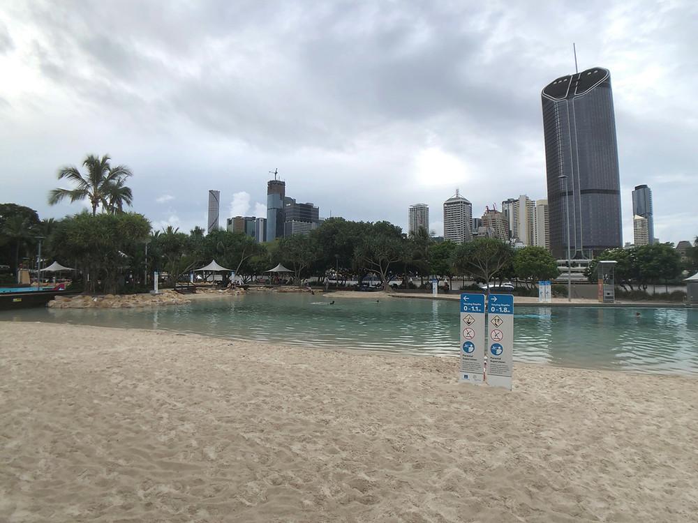 A man-made beach at South Bank Parklands